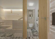 Domácí fitko ze saunou | AŤÁK DESIGN Alcove, Bathtub, Bathroom, Design, Standing Bath, Washroom, Bathtubs, Bath Tube, Full Bath