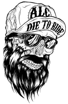 Die to Ride Skull Dessin Old School, Desenho Tattoo, Skull Tattoos, Skull And Bones, Skull Art, Graffiti Art, Art Drawings, Cool Art, Street Art