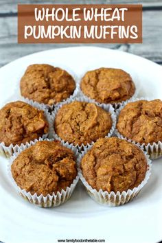 These whole wheat pumpkin muffins are moist and delicious. They are naturally sweetened and perfect for a healthy fall breakfast or snack -- and they are a kid favorite! These whole wheat pumpkin muffins are moist and delicious! Muffin Recipes, Baby Food Recipes, Gourmet Recipes, Baking Recipes, Healthy Recipes, Cheap Recipes, Healthier Desserts, Cake Recipes, Dessert Recipes
