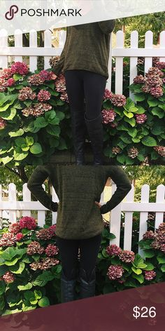 Green v neck high low sweater Great sweater! Only worn twice. Flattering fit, slightly longer in the back. Great with a scarf or jacket or just by itself! H&M Sweaters V-Necks