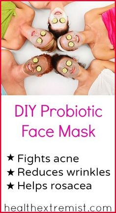 DIY Probiotic Face Mask - Fights acne + reduces wrinkles #DIY #homemade #probiotic #facemask #natural