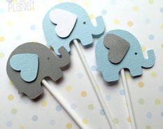 Azul y gris elefante Baby Shower regalo por MyPaperPlanet en Etsy
