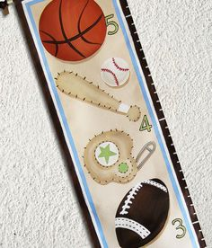 Custom Growth Chart Canvas Sports Balls Bat by SweetDreamMurals, $70.00