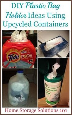 Lots of DIY plastic bag holder ideas using upcycled containers you already have in your home right now {on Home Storage Solutions 101}