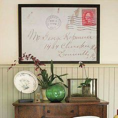 Easy DIY - take vintage envelope, have it blown up, and framed.  https://m.facebook.com/story.php?story_fbid=941577209263724&substory_index=0&id=316807575074027