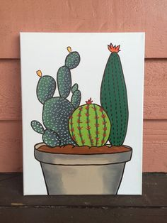 Cactus painting by KlassicKelly on Etsy