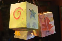 Homemade paper lanterns for Martinmas. Includes links to other lantern ideas. Autumn Crafts, Holiday Crafts, Diy Autumn, Projects For Kids, Crafts For Kids, Learn Art, Light Crafts, Paper Lanterns, How To Make Paper