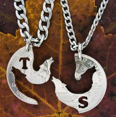 Wolf Necklace Howling initial Jewelry Custom with by NameCoins, $44.99 My friends name is maddie so I would need a M and a S one