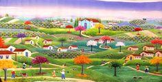 VALQUIRIA BARROS TEMA REVOADA MINEIRA COM AJUR SP PARA DIVULGAÇAO (Painting), 120x100 cm por Arte Naif AJUR SP VENDEDOR E DIVULGADOR DA ARTE NAIF BRASILEIRA