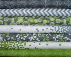 Fat Quarter Bundle of Simply Color in Grey & Green by V and Co for Moda. $16.54, via Etsy.
