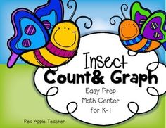 FREEBIE--Insect Count & Graph--Math Graphing Center In this center, students will count the insects Insect Activities, Graphing Activities, Kindergarten Math Activities, Preschool Math, Teaching Math, Numeracy, Math Games, Math Stations, Math Centers