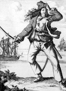 """Mary Read (1690-1721), engraving, """"General History of the Pyrates,"""" 1725."""