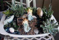 How to Create a Mermaid Garden - Carmen Whitehead Designs Fairy Garden Pots, Fairies Garden, Mermaid Bathroom, Seasons Of The Year, Miniature Fairy Gardens, Fairy Houses, Succulents, Table Decorations, Create