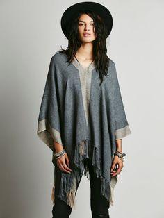 Free People Gray Alpaca Short Pullover Poncho