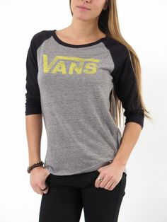 The Authentic Logo Raglan Tee made of cotton is a Ÿ sleeve raglan tee with  a Vans graphic logo on the front chest. fe2fabf21a2