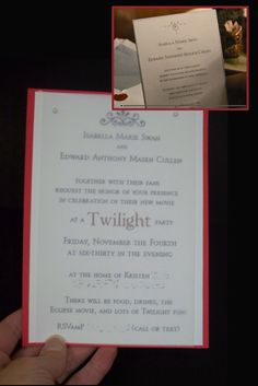 Invitation to Twilight party that looks like Edward & Bella's wedding invitation