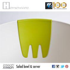Salad bowl & server from Joseph Joseph UK - Salad bowl and hands on for mixing - Melamine-food safe - White & green - BD 20 Joseph Joseph, Salad Bowls, Good Company, Safe Food, Plastic Cutting Board, Hands, Green