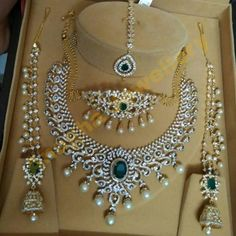 Jewellery Designs: Diamond Set Choker Tikka and Jhumkas