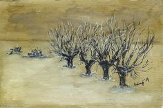 zimowe wierzby malowane na desce, Winter-Weide auf Holz gemalt Winter willow painted on wood,