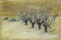 zimowe wierzby malowane na desce, Winter-Weide auf Holz gemalt Winter willow painted on wood,