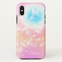 Girly Cute Pink Floral Monogram iPhone X Case - floral style flower flowers stylish diy personalize Pretty Iphone Cases, Unique Iphone Cases, Girly Gifts, Pink Gifts, Monogram Styles, Monogram Gifts, Floral Style, Cute Pink, Diy