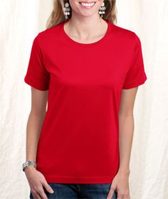 LA T Ladies' Combed Ring-Spun T-Shirt 3580 Red