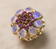 Vintage 18k Yellow Gold Opal & Purplish Pink Sapphire Cluster Ring Size 6.75