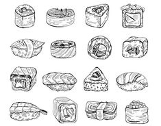 Hand drawn sushi and rolls vector set