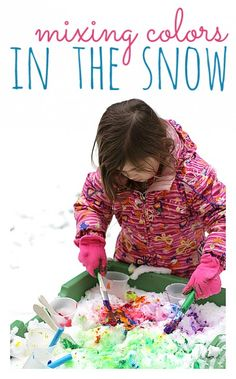 Fun way to mix colors. Paint the snow in a water table.