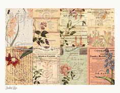Vintage botanische ATC Hintergrund Collage Sheet druckbare Instant Digital Download-Datei
