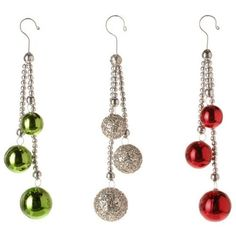 Red, Green and Silver Ball Drop Ornaments  Price : $9.95 http://www.perfectlyfestive.com/RAZ-Imports-Green-Silver-Ornaments/dp/B00CXHKTHC