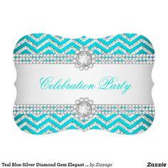 Teal Blue Silver Diamond Gem Elegant Party 5x7 Paper Invitation Card