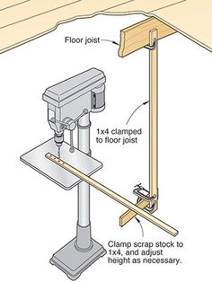 Clamp a 1x4 to an overhead joist. Then, clamp a horizontal 1x4 to the vertical piece level with your tool's work surface. -- Frank Henderson, Liverpool, N.Y.