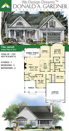 This small house plan balances room definition with an open floorplan. A bay window and French doors invite light inside, while a front porch and screened porch take living outdoors. The Jarrell House Plan House Plans One Story, Ranch House Plans, Cottage House Plans, Craftsman House Plans, Country House Plans, New House Plans, Dream House Plans, Modern House Plans, Cottage Homes