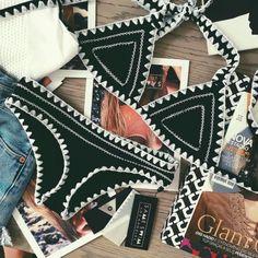 Shop for White Crochet Yaz Bikini by Kiini at ShopStyle. Bikini Noir, Bikini Modells, Bikini Beach, Strap Bikini, Sexy Bikini, Summer Suits, Summer Wear, Lingerie, Mode Crochet