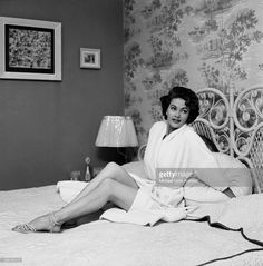 c1960 Actress Yvonne De Carlo poses at home in Los Angeles, California.