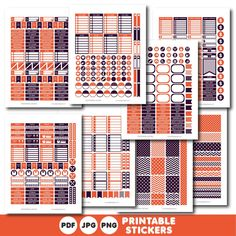 Plum and orange printable monthly and weekly planner stickers kit, STI-348