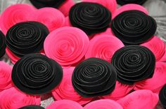 Paper Flowers for Wedding Decors, Embellishments or Scrap booking - Black Pink - 60 pcs - Wholesale