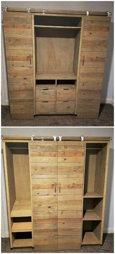 This pallet idea of designing something really different is all about the manufacturing of the wardrobe set that can come out to be one of the finest alternatives as for the purpose of hanging all your important accessories straight into it. Check out the brilliance of the furniture! #palletfurniture