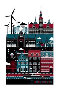 Копенгаген, Иллюстрация © Ксения Быстрова #Illustration
