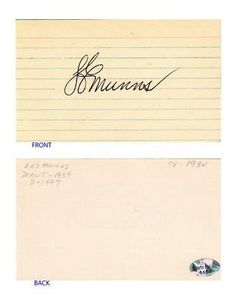"""Les Munns Signed 3x5 Index Card SL COA Brooklyn Dodgers . $6.00. Major League PitcherLes MunnsHand Signed 3x5"""" Index CardMunns Played For:Brooklyn Dodgers 1934-1935St. Louis Cardinals 1936.WONDERFUL AUTHENTIC LES MUNNS BASEBALL COLLECTIBLE!!SIGNATURE IS AUTHENTICATED BY SPORTSLOT INC. WITH NUMBERED SPORTSLOT INC. STICKER ON ITEM AND IS GUARENTEED AUTHENTIC BY SPORTSLOT INC.SPORTSLOT INC AUTHENTICITY NUMBER: # 4154"""