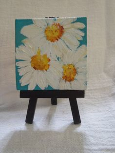 Shasta Daisies Painting on Turquoise Blue by SharonFosterArt, $22.00
