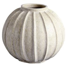 Arne Bang Spherical Stoneware Ribbed Vase  with matte off-white glaze. 1930s-40s