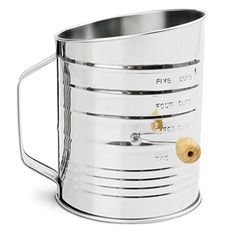 Nellam Traditional Flour Sifter Stainless Steel 5 Cup w Bonus 4x Pastry Piping Bag  Wooden Crank Sifter for Baking  Bakers Equipment ** You can get more details by clicking on the image.