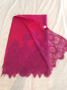 Authentic Valentino Reversible Red Pink Floral Lace-trimmed Silk Shawl Scarf #Valentino #ShawlWrap