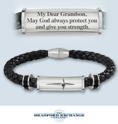 Give your grandson a meaningful expression of faith and love with this engraved cross bracelet.