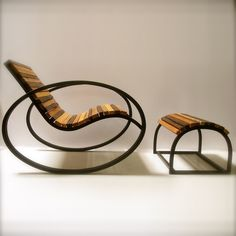 Pant Rocker with Ottoman, designed by Joe Manus of Shiner International. Calico wood with blackened carbon steel frame. $329 for the ottoman, $729 for the rocker -- which is 50% off retail on TouchofModern flash sales site.  Alas, delivery is very $$ from Atlanta to anywhere .... Aug 2012
