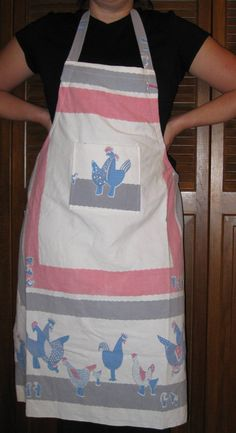 retro gray blue and pink chicken full apron  made by babiesnbags, $18.00