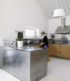 stainless and wood kitchen