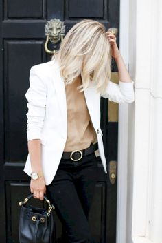 Casual Blazer Outfit for Women You Must Have 60 Casual Blazer Outfit for Women You Must Have Outfit Outfit Blazer Outfits Casual, White Jacket Outfit, Blazer Outfits For Women, Blazer Fashion, Fashion Outfits, Dress Casual, Dress Outfits, Fashion Mode, Work Fashion